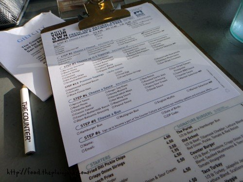 Menu - The Counter / San Diego, CA