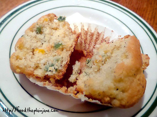Sliced jalapeno corn muffin