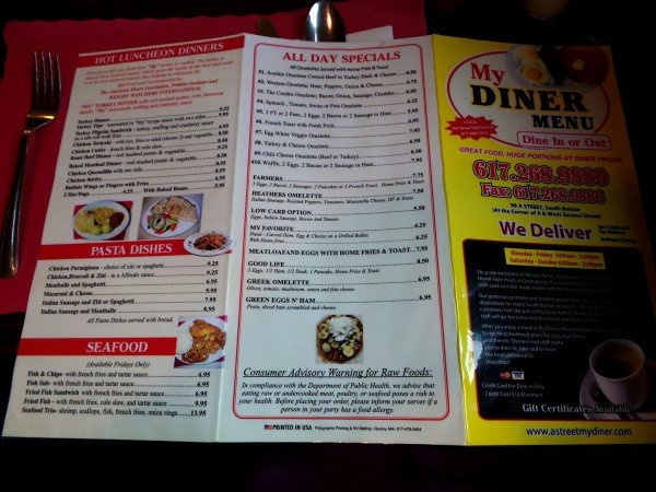Menu, side two- My Diner - Boston, MA