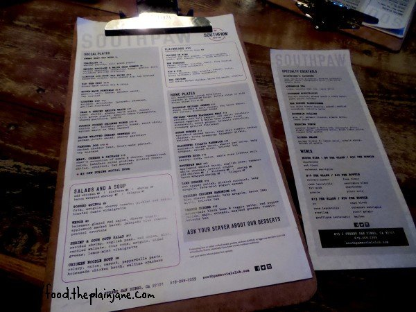 southpaw social club - menu