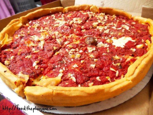 Garlic and Sausage Deep Dish Pizza - Berkeley Pizza - San Diego
