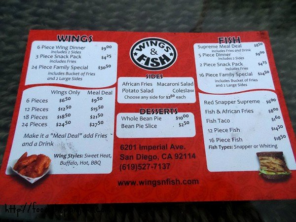 Wings and Fish menu / Encanto - San Diego, CA
